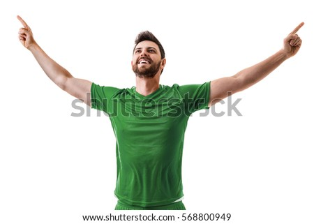 Man wearing green uniform celebrates on white background #568800949