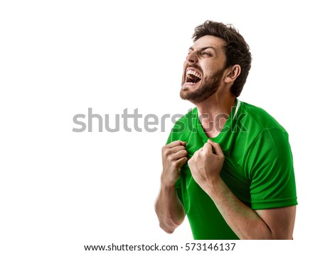 Man wearing green uniform celebrates on white background #573146137