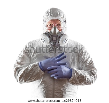 Man Wearing Hazmat Suit, Goggles and Gas Mask Isolated On White.