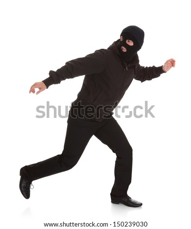 Thief With Bag And Holding Flashlight Isolated On White Background