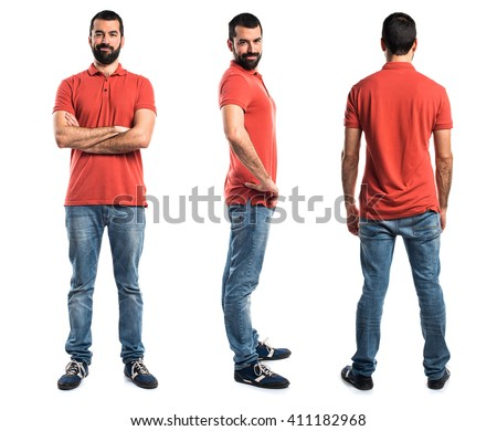 Man wearing red polo shirt