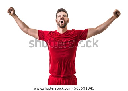 Man wearing red uniform celebrates on white background #568531345