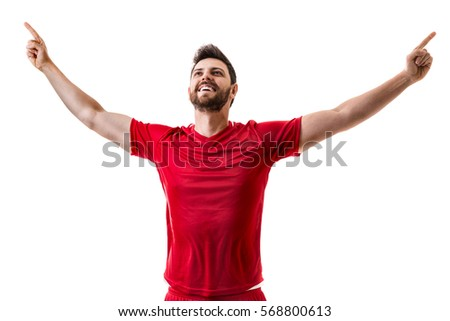 Man wearing red uniform celebrates on white background #568800613
