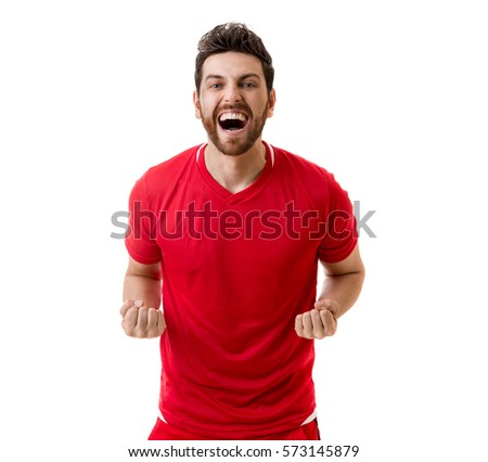 Man wearing red uniform celebrates on white background #573145879