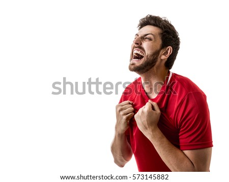 Man wearing red uniform celebrates on white background #573145882
