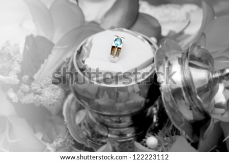 man wedding ring on black and white background