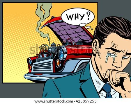 man weeps car broke down