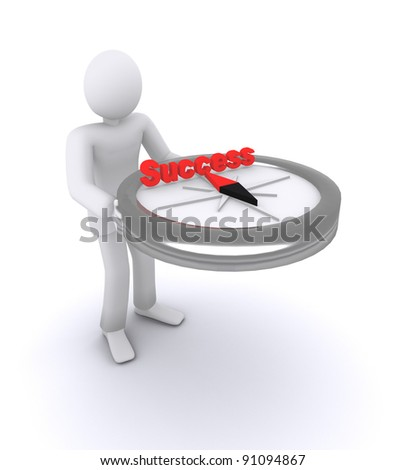 man who holds in hands compass, which indicates on success