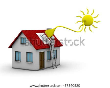 man who installs a solar energy system on a house
