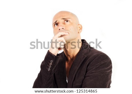 man who thinks on a white background