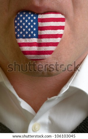 man wit open mouth spreading tongue colored in america flag as symbol of values like teaching, learning, multilingual speaking of different languages