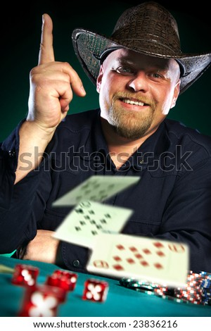 man with a beard plays poker...