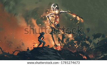 man with a bow fighting with a flaming skeleton, digital art style, illustration painting