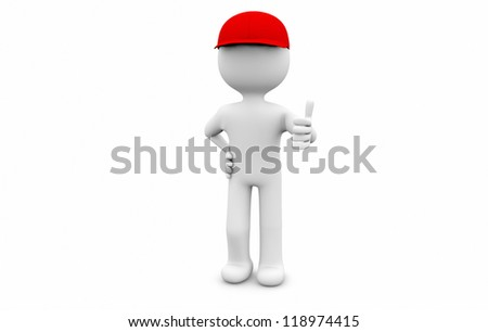 man with a cap and thumb up