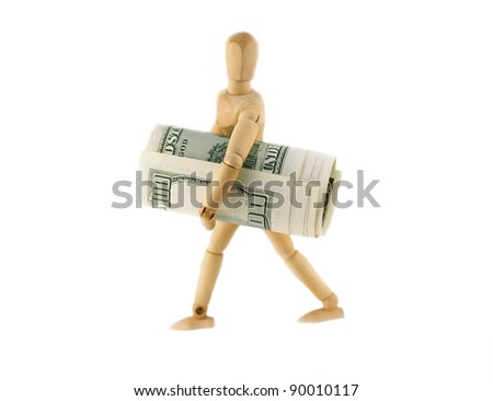 Man with a 100 dollars roll in his hands - stock photo