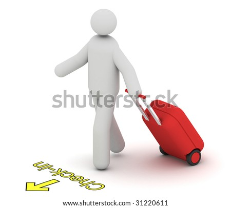 Man with a hard trolley case going to check-in