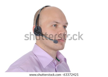 man with a headset isolated on white background