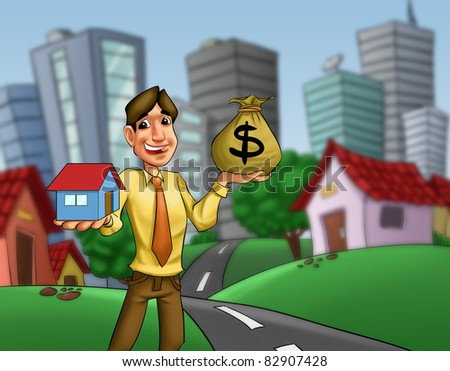 man with a house and a money sack in his hands