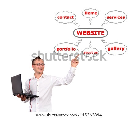 man with a laptop in hand points to website