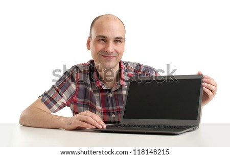 man with a laptop isolated over a white background