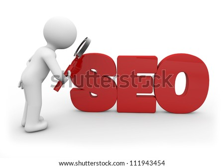 Man with a magnifying glass looking at the text SEO