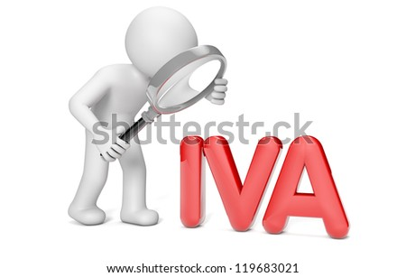 man with a magnifying glass looking the word IVA