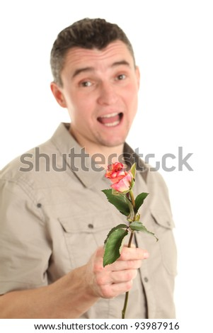 Man with a roses isolated on white background