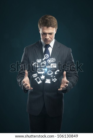 man with a social media icon on his hands