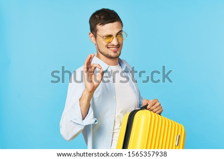Man with a suitcase travel fun vacation vacation lifestyle