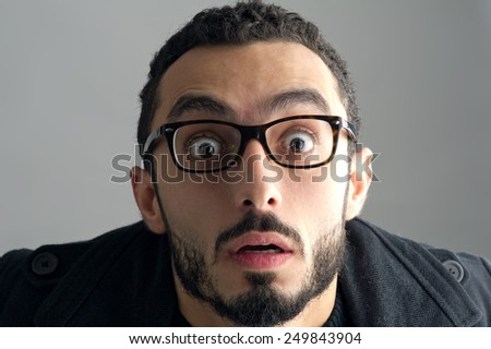 Man with a surprised facial expression, Surprise expression