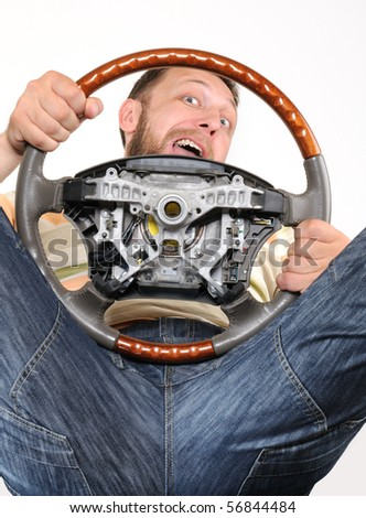 Man with a wheel in an interesting foreshortening on withe background