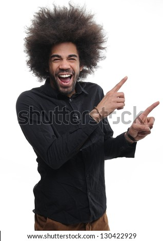 Man with afro posing