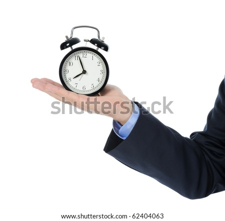man with an alarm clock in a hand. Isolated on white background