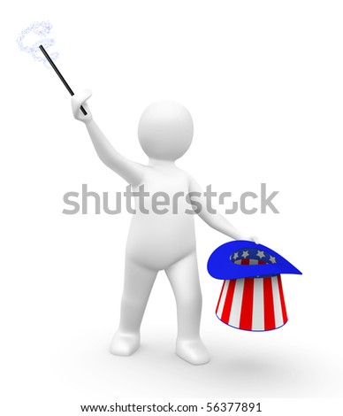 Man with an American hat and a magic wand