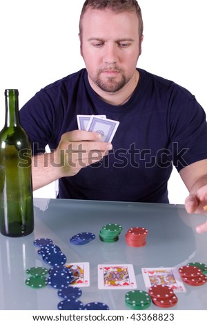 Man with an Empty Bottle playing Royal Flush in Texas Hold'em Table
