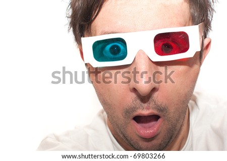 Man with anaglyph 3D glasses making funny face.
