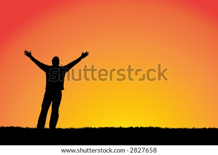 Man with arms stretched out to a sunset sky.