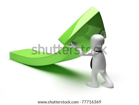Man with arrow upwards. 3D illustration