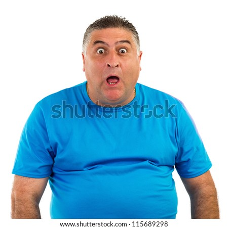 Man with astonished expression isolated on white - stock photo