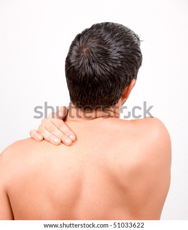 Man with back neck ache