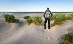 Man with Backpack hiking in beautiful windy coastal dune marram grass towards beach of North Sea in soft evening sunset sunlight. Skagen Nordstrand, Denmark. Skagerrak, Kattegat.