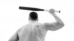 man with baseball bat. Hooligan man hits the bat. Bandit gang and conflict. muscular man fighting. full of energy. sport activity and game. deal conflict. muscular back man isolated on white.
