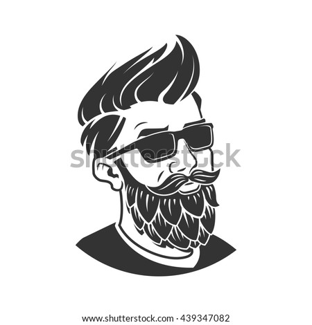 Man with beard in the form of hop raster illustration. Craft beer logo