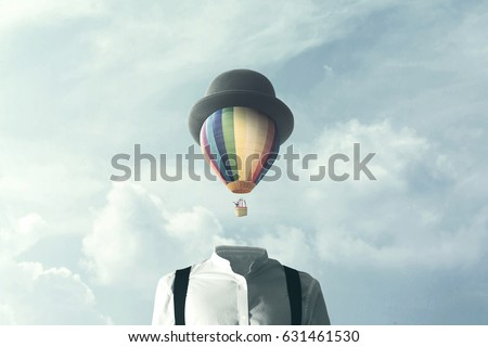 man with big balloon fly on his head, surreal concept