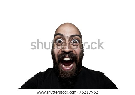 man with big eyes that screams on white background - stock photo