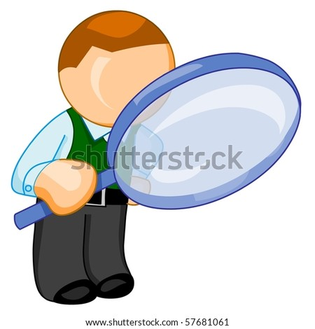 Man with big magnifying glass look for something.