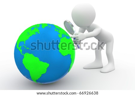 Man with big magnifying glass looking at Earth