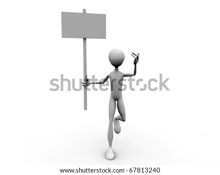 man with blank billboard isolated on white background