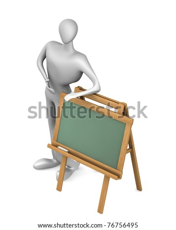 man with blank chalkboard isolated on white