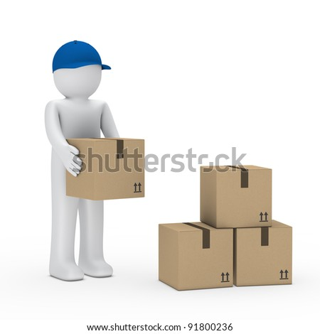 Man with blue cap stack brown package